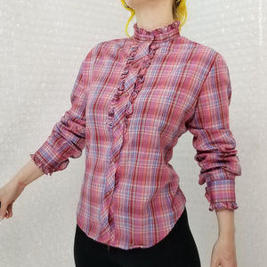 Vintage 80s Square One plaid prairie button-up